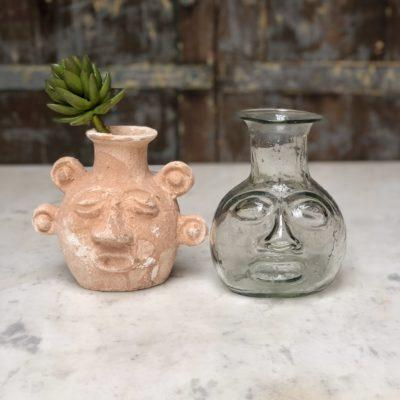 incas-head-shaped-vases-terracotta-transparent-hand-blown-recycled-glass