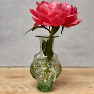 deesse female head shaped vase in transparent glass