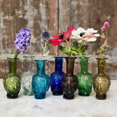 vase-tête-vase-shaped-like-a-head-in olive-transparent-turquoise-blue-purple-green-yellow