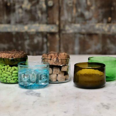 la-soufflerie-verre-palais-drinking-glass-container-cork-top-olive-turquoise-transparent-dark-brown-green-hand-blown-recycled-glass