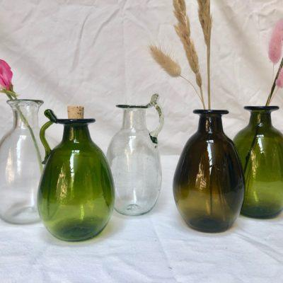 la-soufflerie-amour-vase-carafe-with-or-without handle-transparent-olive-dark-brown-hand-blown-recycled-glass