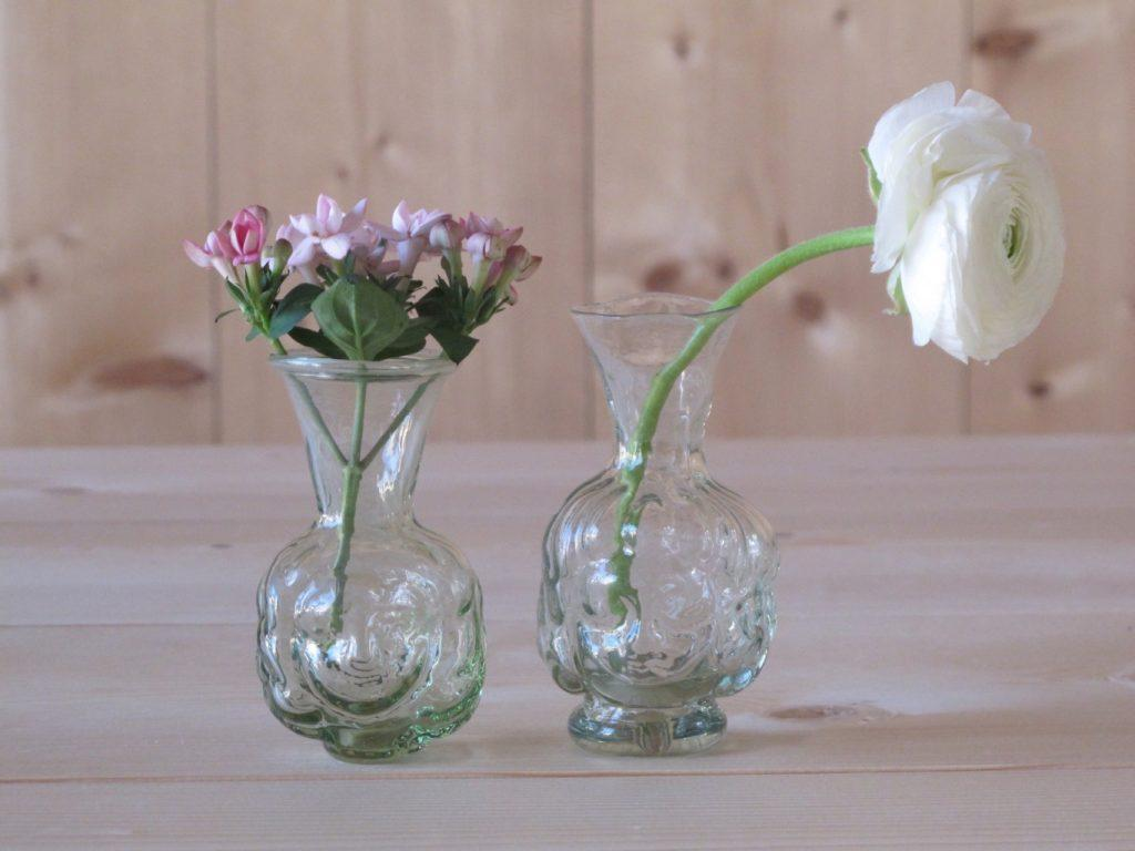 L to R: Chiara, Thibaut head-shaped handblown glass vases by La Soufflerie