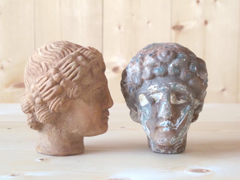 L to R: Tete Rodi Terracotta, Verre/Glass with Patina