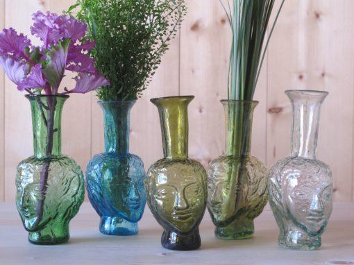 Facets Side One Vase tête green turquoise olive yellow transparent