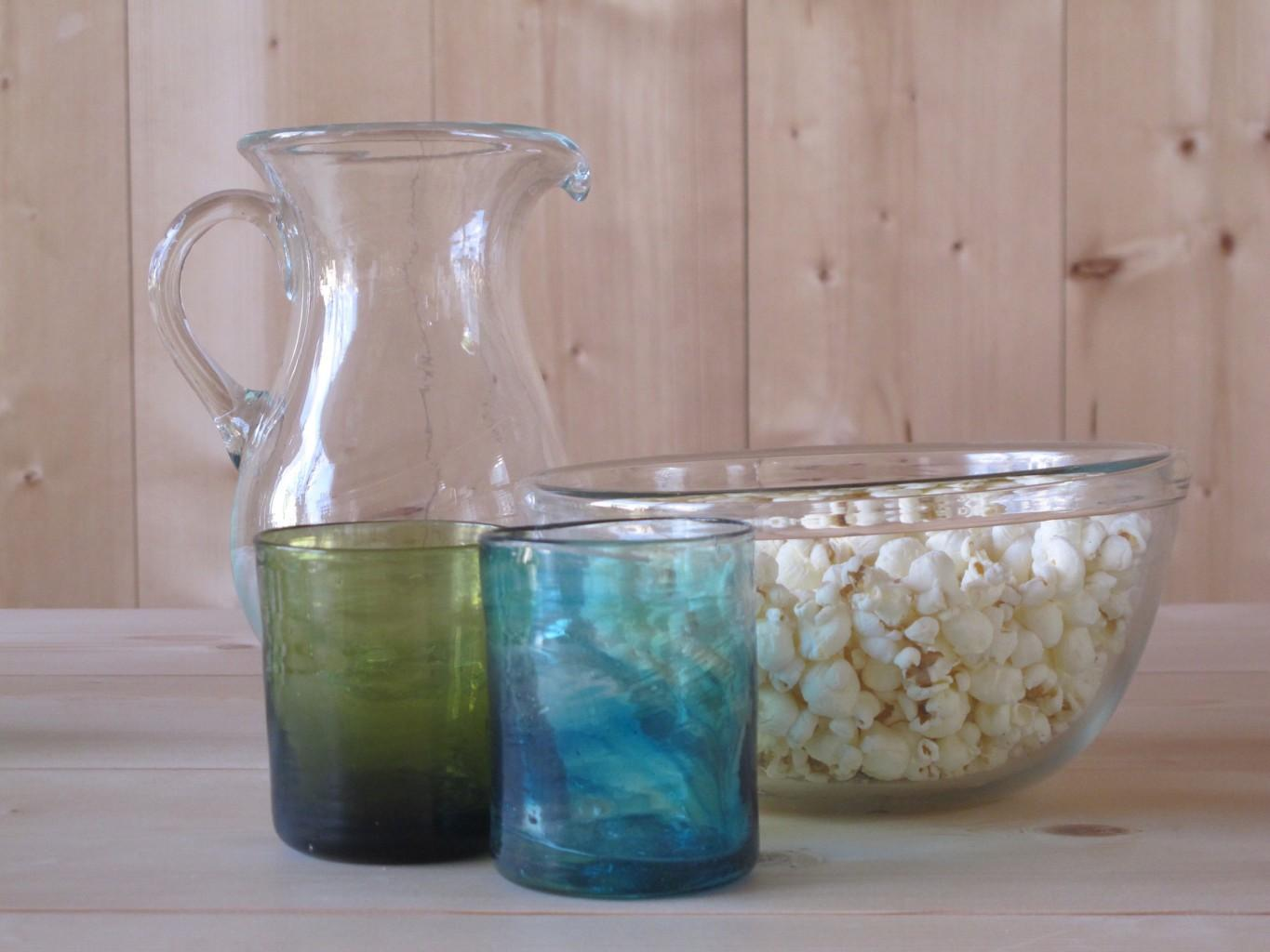 L to R: Verscia, Murano Olive, Murano Turquoise, Salad Bowl Big