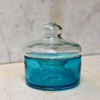 la-soufflerie-boite-container-turquoise-transparent-lid-hand-blown-recycled-glass