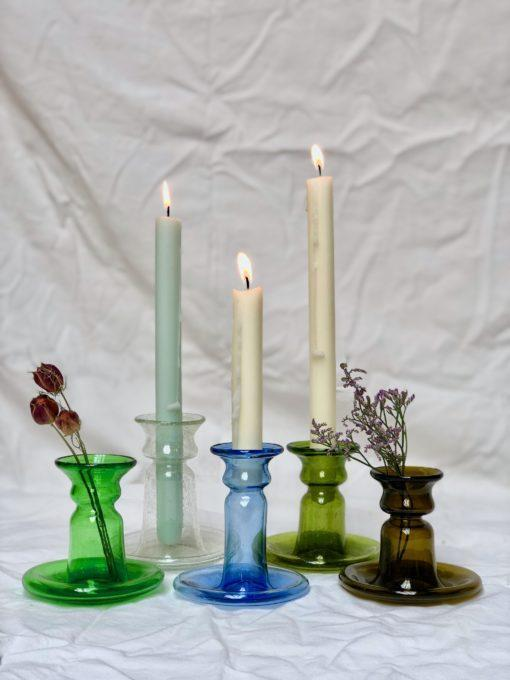 porta-candele-piccolo-candle-stick-holder-in-green-transparent-light-blue-olive-dark-brown