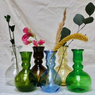 laveno montebello vases in transparent, olive, dark brown, light blue, yellow and green glass