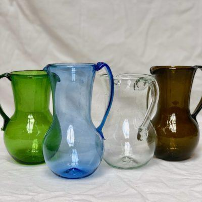 la-soufflerie-pichet-petit-avec-anse-pitcher-with-handle-olive-light-blue-transparent-dark-brown-hand-blown-recycled-glass