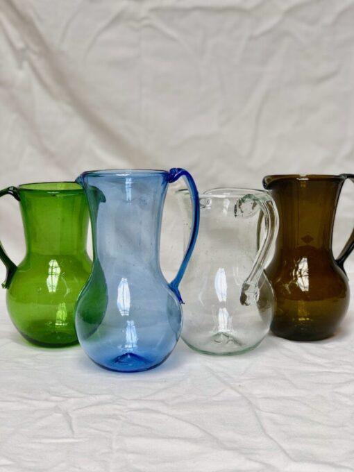 la-soufflerie-pichet-petit-avec-anse-pitcher-with-handle-olive-light-blue-transparent-dark-brown-hand-blown-recycled-glass