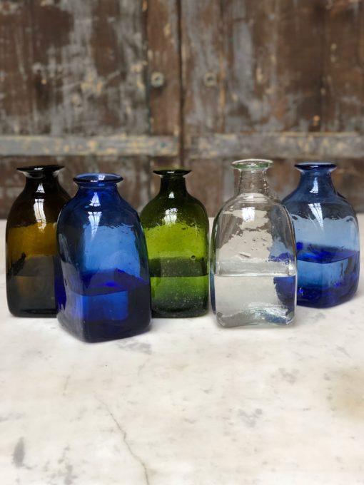 bouteille carré petit square carafe in dark brown, blue, olive, transparent, light blue