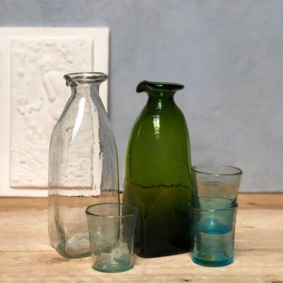 la-soufflerie-frigo-carafe-with-spout-olive-transparent-hand-blown-recycled-glass