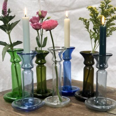 la-soufflerie-porta-candele-candlestick-holder-bud-vase-green-light-blue-olive-transparent-dark-blue-dark-brown-smoky-hand-blown-recycled-glass