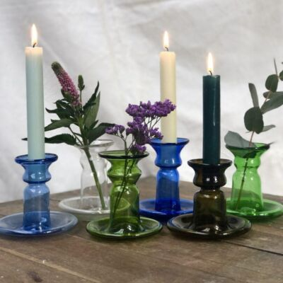 la-soufflerie-porta-candele-piccolo-candlestick-holder-bud-vase-light-blue-transparent-olive-dark-blue-dark-brown-green-hand-blown-recycled-glass