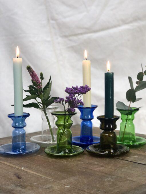 la-soufflerie-porta-candele-piccolo-candlestick-holder-bud-vase-light-blue-transparent-olive-dark-blue-dark-brown-green-hand-blown-recycled-glass