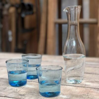 levico-carafe-transparent-recycled-glass-lyonnais-quinquet-glass-turquoise