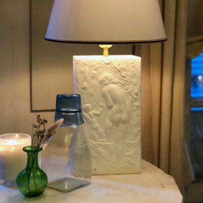 the-bather-lamp-plaster-bas-relief-piccola-green-bud-vase-bouteille-carre-petit-carafe-transparent-lyonnais-quinquet-drinking-glass-turquoise
