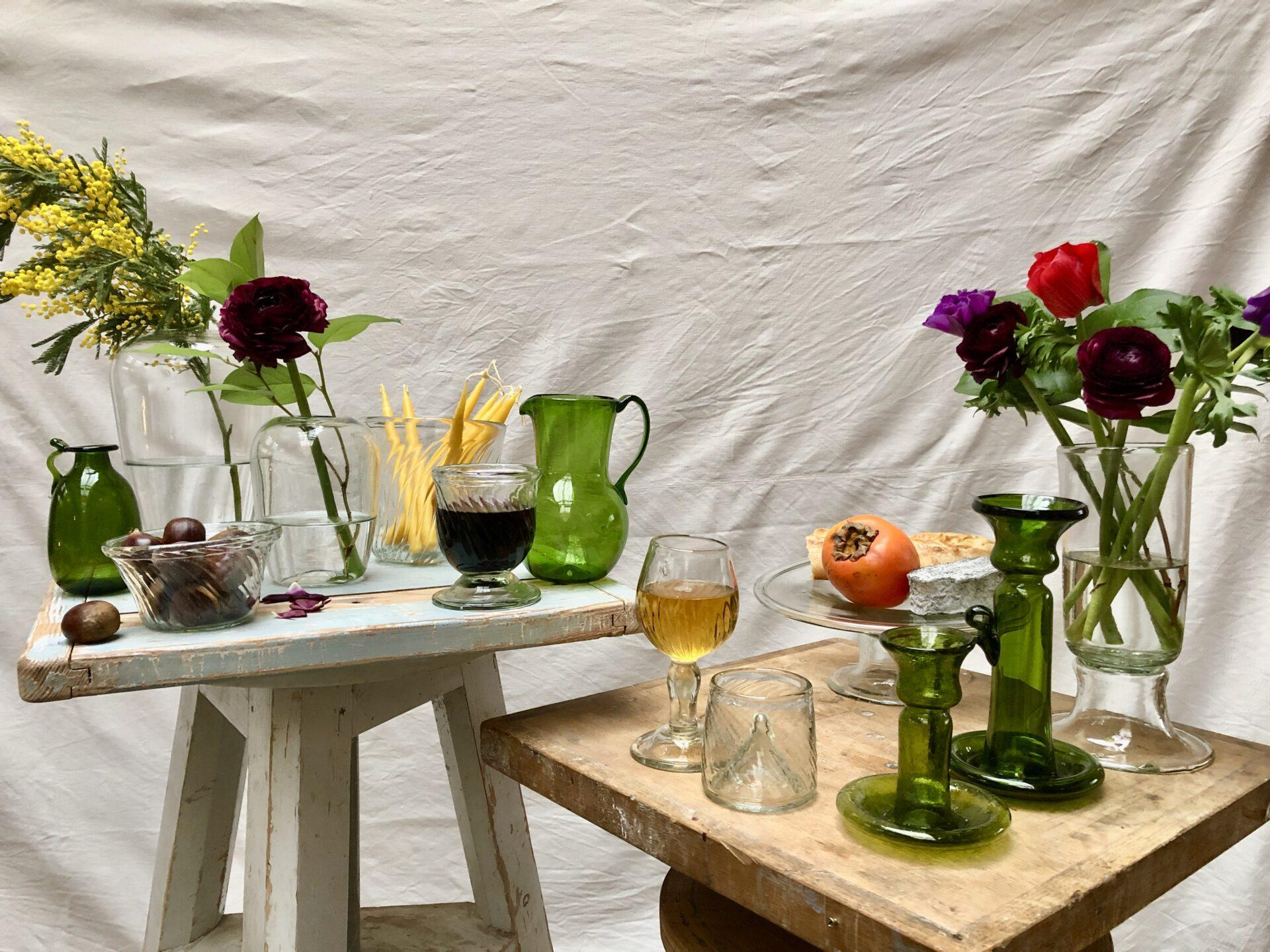 la-soufflerie-boheme-new-collection-hand-blown-handmade-recycled-glass-vases-glasses-carafes-bowls-candle-stick-holders