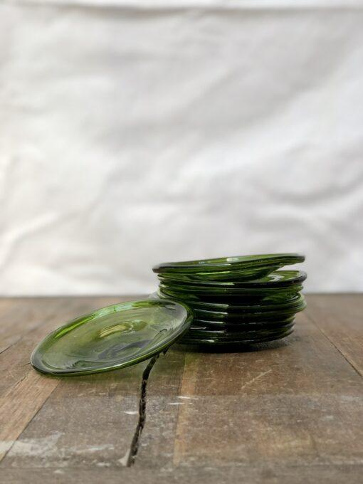 assiette-10cm-olive-small-plate-hand-blown-recycled-glass