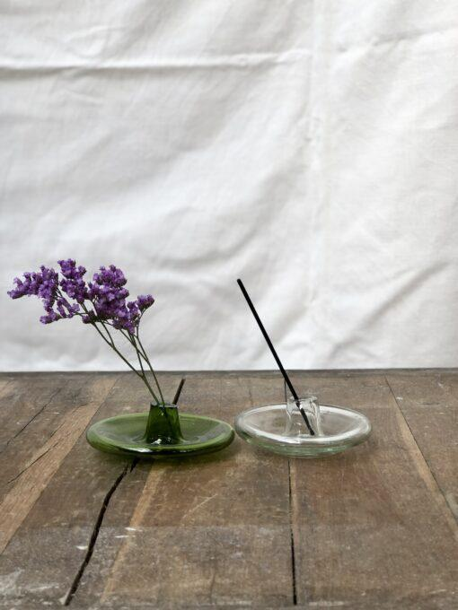 la-soufflerie-incense-holder-olive-transparent-hand-blown-recycled-glass