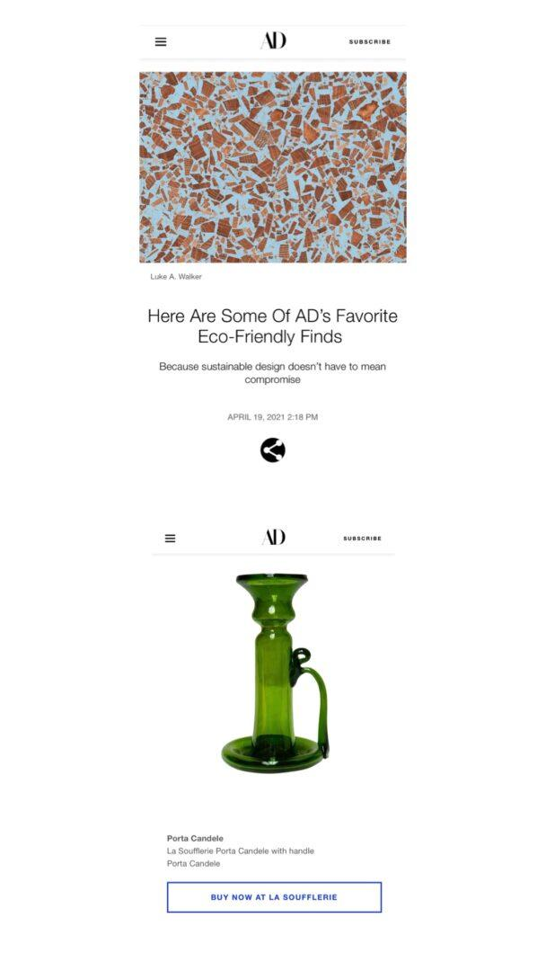 architectural-digest-magazine-article-featuring-porta-candele-with-handle-candlestick-holder-in-olive